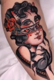 27张白色彩风格的school女郎纹身图案
