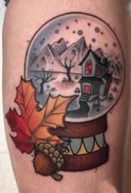 水晶玻璃球主题的一组彩色纹身图案