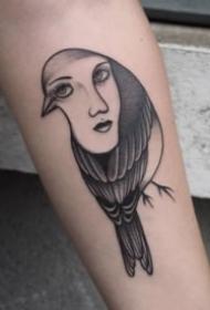 創意的鳥與人臉結合的個性紋身圖案
