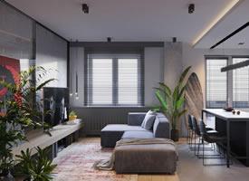 现代风与工业风格混搭loft装修效果图