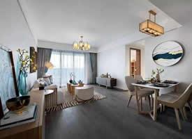 100㎡极简新中式三居室 装修效果图