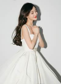 angelababy简约白裙甜美写真图片