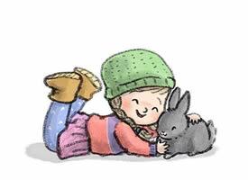 一组可爱的小孩与动物的卡通壁纸图