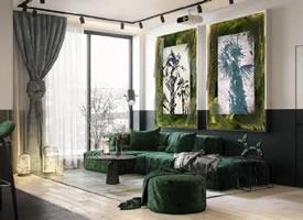 将绿色植物作为调色板的室内设计的公寓装修后果图