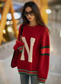 倪妮红色毛衣性感迷人写真图片