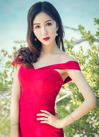 娄艺潇性感美艳红裙海边唯美写真图片