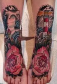 脚面上的一组脚部背面纹身图案欣赏