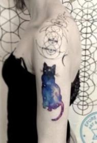 貓的輪廓+星空主題的一組紋身作品