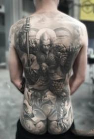 中国传统风格的大满背纹身作品欣赏