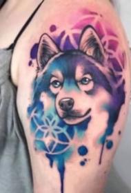 蓝色水彩风格的宠物纹身图案