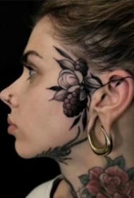 頭部耳朵旁的school植物小紋身圖案