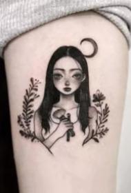 一组小女孩的人物简笔画纹身图
