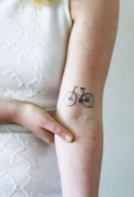 很小清新的簡約單車自行車紋身圖案