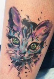 一组水彩色的动物等纹身图片