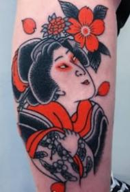 略顯清新的紅黑色傳統風格的紋身