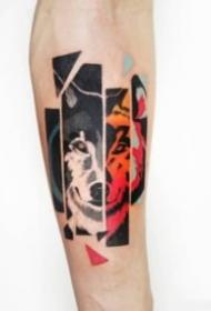 狼頭主題的一組狼紋身圖案賞析