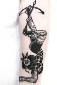 柔韧的杂技女郎的纹身图案素材