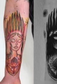 9张手臂的动物等纹身描线与作品对比图