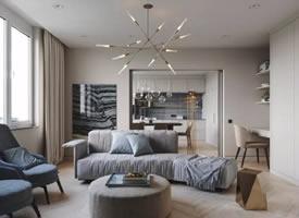 一组时尚高级灰住宅 现代简约风装修效果图