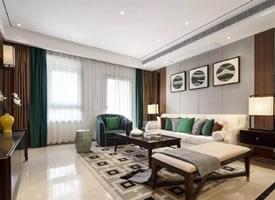 一组120㎡现代中式三居装修效果图欣赏