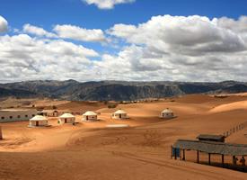 一望无际的沙坡头风景高清图片欣赏