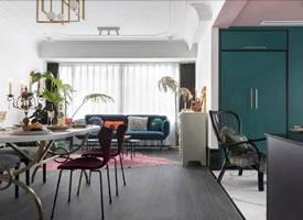 89㎡两室一厅轻熟风,千禧色+克莱因蓝+玛莎拉酒红