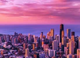 一組美麗的芝加哥的紫色晚霞圖片