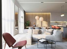 115m²浅色明亮家,温暖的灰与木