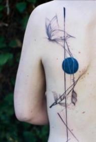 创意的一组带蓝色圆点的个性纹身
