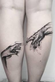触碰手指的手势纹身作品图案欣赏