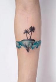 18组小清新的水彩色花朵纹身作品
