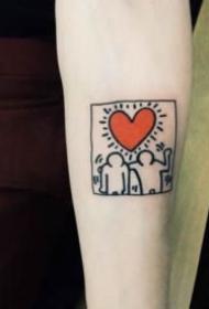9张红色小爱心的纹身图片