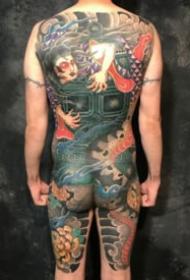 传统日式的满背通体纹身图案9张