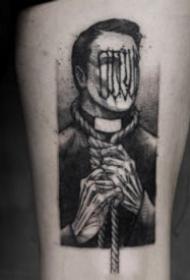 欧美暗黑风格的点刺人物纹身图