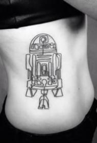一组简约的简笔画纹身作品图片