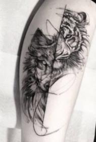 帥氣的一組好看黑灰老虎紋身圖案
