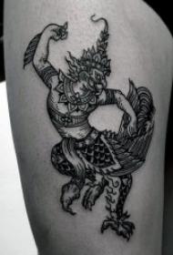 黑色纹身  多款造型百变的人形鸟怪物纹身图案