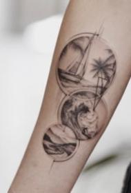 耐看又精致的点线山水风景纹身图片