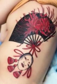 红色调的一组好看传统扇子纹身图案