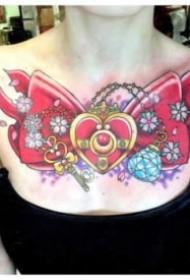 女士性感的花胸紋身作品圖案9張