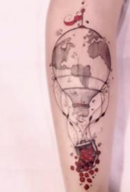 热气球主题的一组小清新纹身图案9张