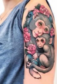 個性的一組猴子紋身圖片
