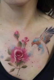 彩色水墨风格的小清新动物纹身作品