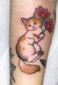 一组传统的日式小猫纹身作品图