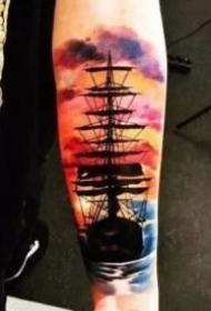 9款很漂亮的彩色大帆船纹身图案