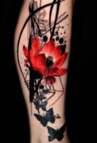 纹身红色花  娇艳而又色彩绚丽的红色花朵纹身图案