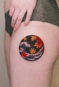 海浪主题的9张浪花纹身图片