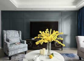 125㎡现代美式风四居室,流畅的线条,温暖的配色