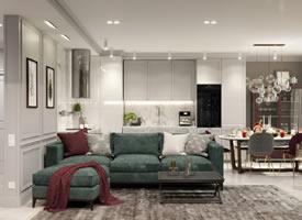 墨绿、酒红和玻璃金属现代轻奢风装修效果图