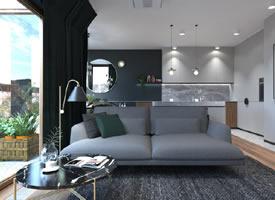 波兰79平现代风阁楼公寓,大理石塑造轻奢感